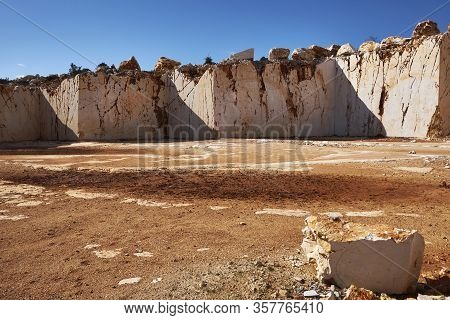 Abandoned Marble Quarry In The Sunny Day