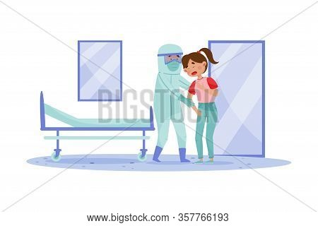Young Woman With Coronavirus Symptoms And Doctor In Protective Suit Lending Aid To Her Vector Illust