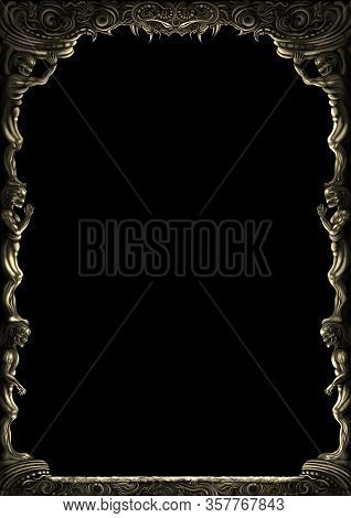 Illustration Decorative Fantasy Medieval Frame With Monsters Bodies. Digital Painting