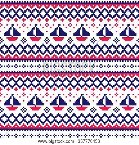 Nautical Scottish Fair Isle Style Traditional Knitwear Vector Seamless Pattern With Boats In Navy Bl