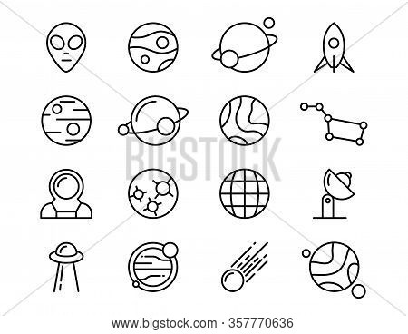 Set Of Vector Icons On The Theme Of Space And Astrophysics, The Study Of Other Planets And Ufos.