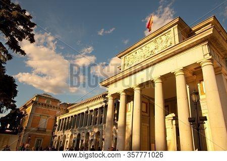 Madrid, Spain - April 04, 2010: Detail Od The Facade Of Museo Del Prado (prado Art Museum).