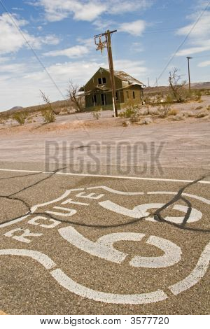 Route 66 Through Ghost Town Ruins In Mojave Desert