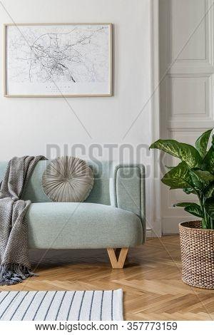 Stylish Scandinavian Living Room Interior Of Modern Apartment With Mint Sofa, Design Coffee Table, F