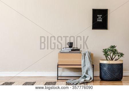 Modern Scandinavian Living Room Interior With Black Poster Frame, Design Commode, Basket And Elegant