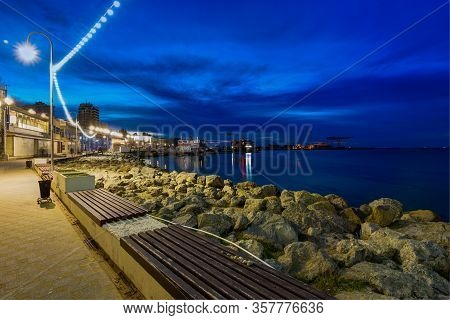 Anapa, Russia - March 3, 2020: Anapa Embankment Lower Terrace After Sunset