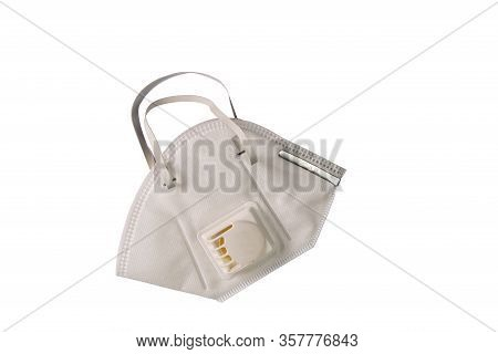 Top View Of Particulate Respirator Protection Mask With Exhalation Valve Filter On White Background