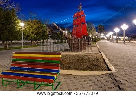 Anapa, Russia - March 3, 2020: The Embankment Of The Resort City Of Anapa And The Landmark Ship