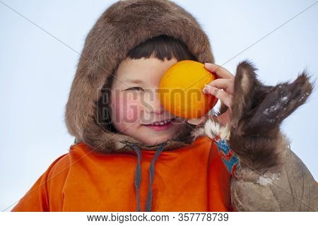 A Resident Of The Tundra, The Indigenous Inhabitants Of The Far North, The Tundra, An Open Area, A L