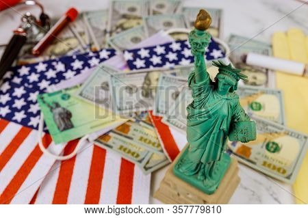 Word Covid-19 On Global Pandemic Lockdown Stimulus Package Financial Relief Package From Government