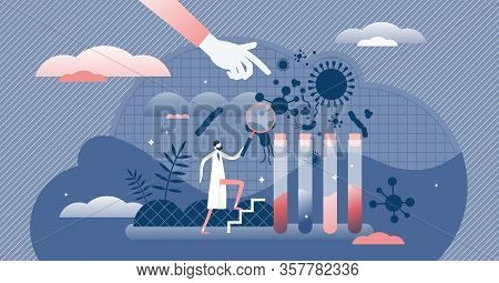 Virology Vector Illustration. Scientific Virus Prevention Study Flat Tiny Persons Concept. Medical V