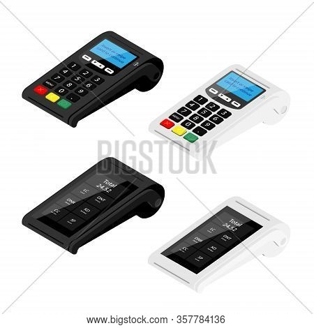 New Modern Smart Pos Terminals And Pos Terminal Payment Machines Isolated On White Background