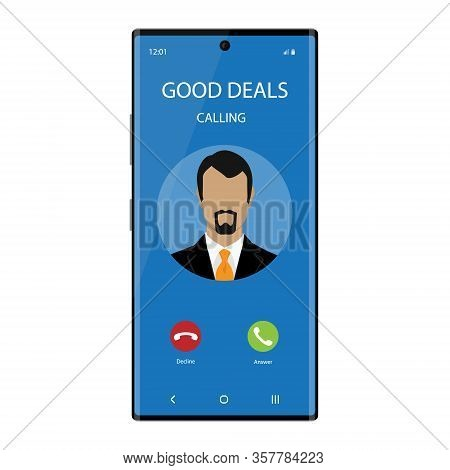 Smartphone With Incoming Phone Call Screen User Interface. Good Deals Concept