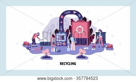 Garbage Sorting And Recycling Factory. Trash Recycle Ecology Concept. People Collect Waste Ans Send