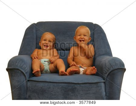 Two Little Boys In The Armchair