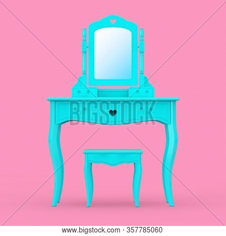 Antique Bedroom Vanity Blue Table With Stool And Mirror In Duotone Style On A Pink Background. 3d Re