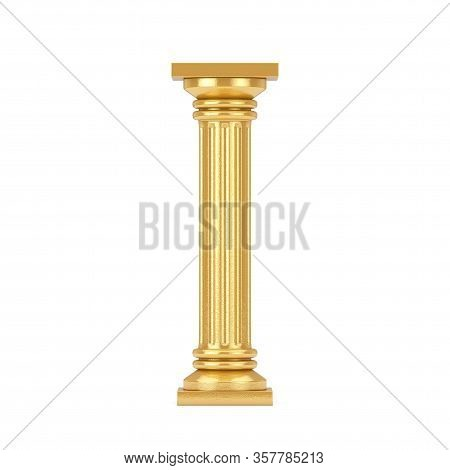 Golden Classic Greek Column Pedestal On A White Background. 3d Rendering