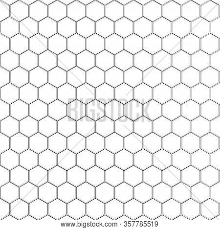 Metal Hexagon Fence Background Texture On A White Background. 3d Rendering