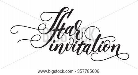 Iftar Invitation Modern Brush Calligraphy Isolated On White Background. Vector Illustration