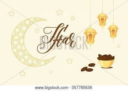 Iftar Invitation Card On White Background. Gold Modern Brush Calligraphy. Vector Illustration