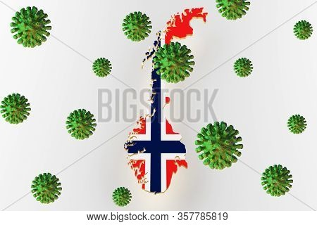 Norway Map Image With Flag. Land Plot Of Norway. Norway Flag On A Map. 3d Render