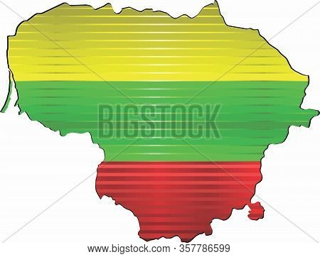 Shiny Grunge Map Of The Lithuania - Illustration,  Three Dimensional Map Of Lithuania