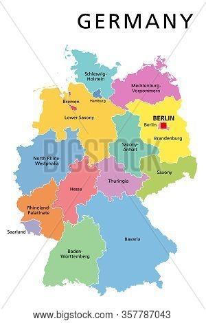 Germany Political Map. Multicolored States Of Federal Republic Of Germany With Capital Berlin And 16