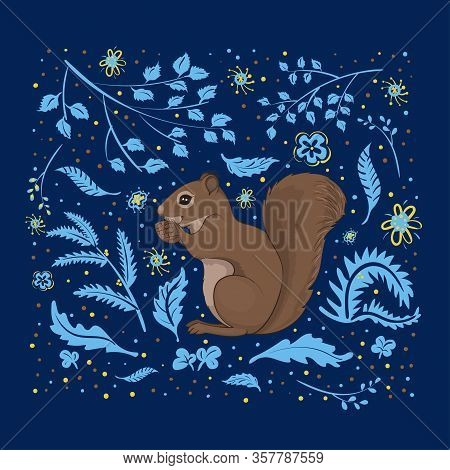 Vector Illustration, A Cute Squirrel On A Square Dark Blue Background With Light Blue And Yellow Flo