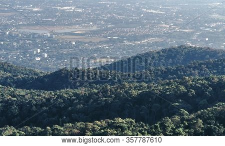 Landscape Or Mountain Scape Of Chiang Mai Province, Thailand. View From Doi Inthanon Or Inthanon Mou