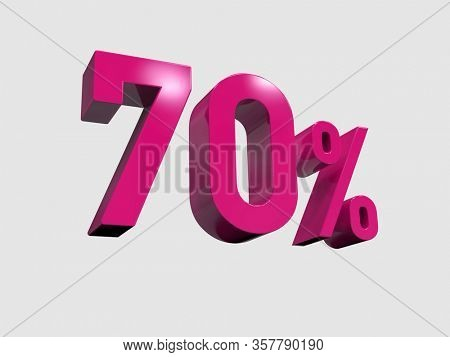 3d Render: Red 70% Percent Discount 3d Sign on Light Background, Special Offer 70% Discount Tag, Sale Up to 70 Percent Off, Sixty-five Percent Letters Sale Symbol, Special Offer Label, Sticker, Tag