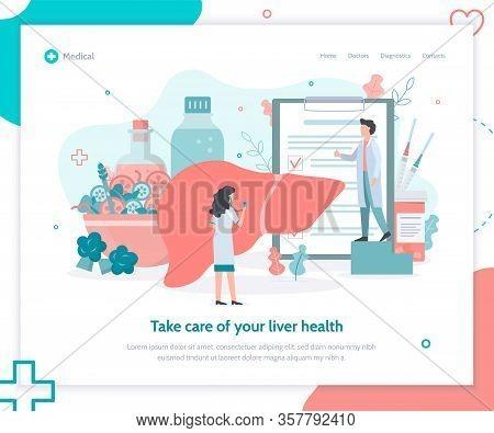 Liver Health Concept. Prevention Of Cirrhosis, Hepatitis. Vaccination. Creative Landing Page Design
