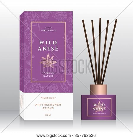 Anise Home Fragrance Sticks Abstract Vector Label Box Template. Hand Drawn Sketch Flowers, Leaves Ba