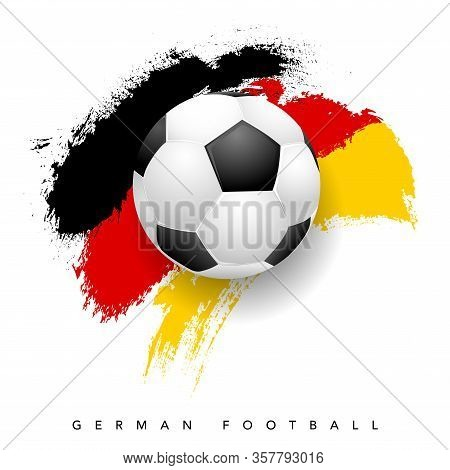 Grungy German Flag With Soccer Ball On White Background - German Football Symbols. Vector Illustrati