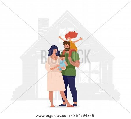 A Happy Family Stands In The Background Of Their New Home. Concept Illustration About Sale, Purchase