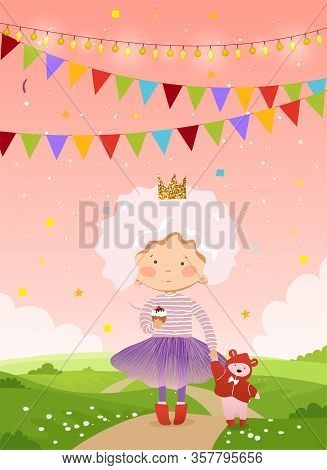 Cute Little Princess Walks With A Teddy Bear On A Background Of Beautiful Nature. Girl With A Teddy