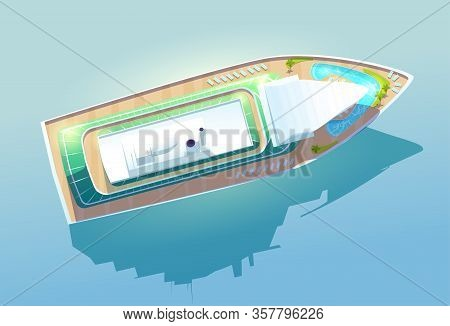 Cruise Ship. Luxury Passenger Liner For Summer Vacation And Sea Travel Top View. Vector Cartoon Illu