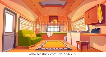 Camping Trailer Car Interior With Bed, Couch, Sink, Desk With Laptop, Bookshelf And Jalousie On Wind