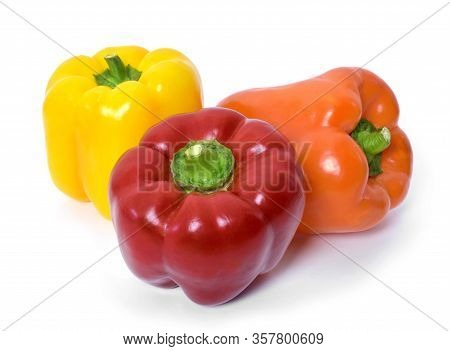 Fresh Bell Peppers, Isolated On White Background. Red, Orange And Yellow Bell Peppers, Cooking Ingre