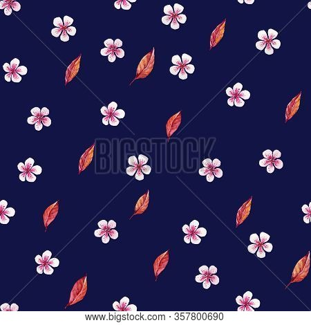 Pink Florets With Red Leaves Pattern On Dark Blue. Watercolor Seamless. Ideal For Packaging Products