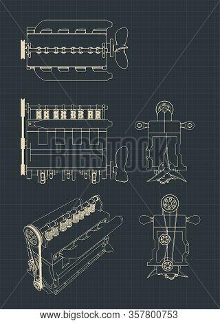 Four-cylinder Diesel Engine Drawings