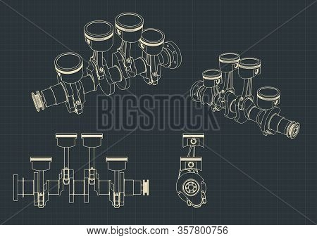 Piston Group With Crankshaft Blueprints