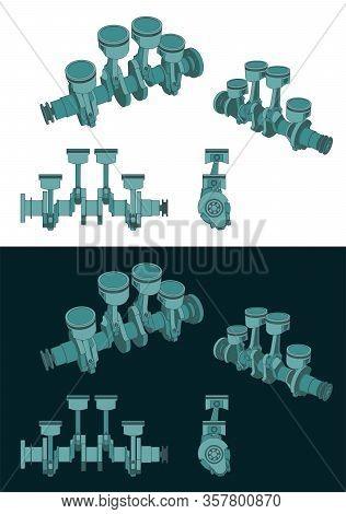 Piston Group With Crankshaft Color Blueprints