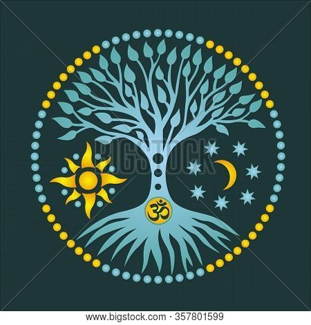 The Tree Of Life With The Sun And The Moon And Sign Aum / Om / Ohm,  In The Center Of The Circle Of