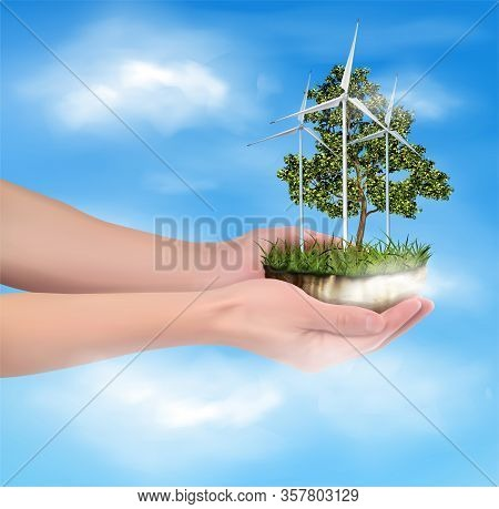 Conservation Of Eco-energy By People. Hands Of A Man. Vector Illustration.