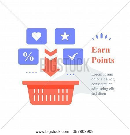 Grocery Basket, Earn Points For Purchase, Loyalty Program, Reward Or Incentive, Collect Bonus, Buy M