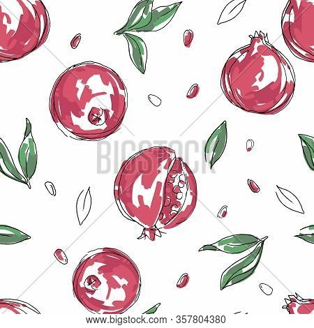 Ripe Fruit Of Red Pomegranate Is Isolated On A White Background. Vector Illustration Of Pomegranate