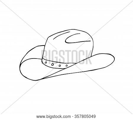 Vector Hand Drawn Doodle Sketch Cowboy Hat Isolated On White Background