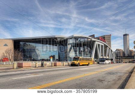 Atlanta, Georgia/united States- January 8, 2020: The State Farm Arena In Atlanta, Georgia In (atlant