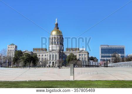 Atlanta, Georgia/united States- January 8, 2020: The Georgia Capitol Building In Atlanta In (atlanta