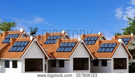 3d Rendering Of Multiple Town Houses With Photovoltaic Solar Panel Equipment For Creating Clean Ecol